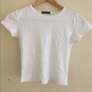 Brandy Melville white cropped tee w/ heart design